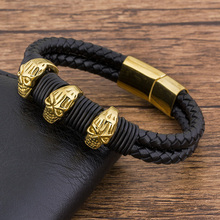лучшая цена Fashion Charm Wholesale Accessories  Leather bracelet Men  Jewelry Skull stainless steel Manetic bangle Punk Rock gold wristband