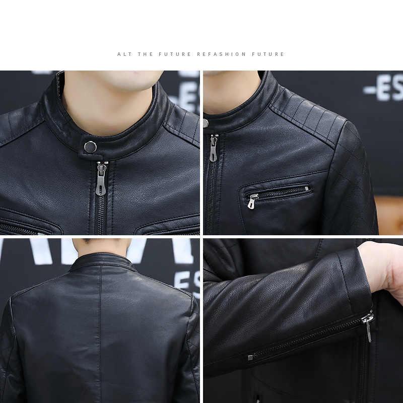 سترة جلدية الرجال Jackets الستر 5XL 6XL حجم كبير 2020 حامل للدراجة البخارية طوق البني معاطف الخريف الراحة عالية الجودة أسود