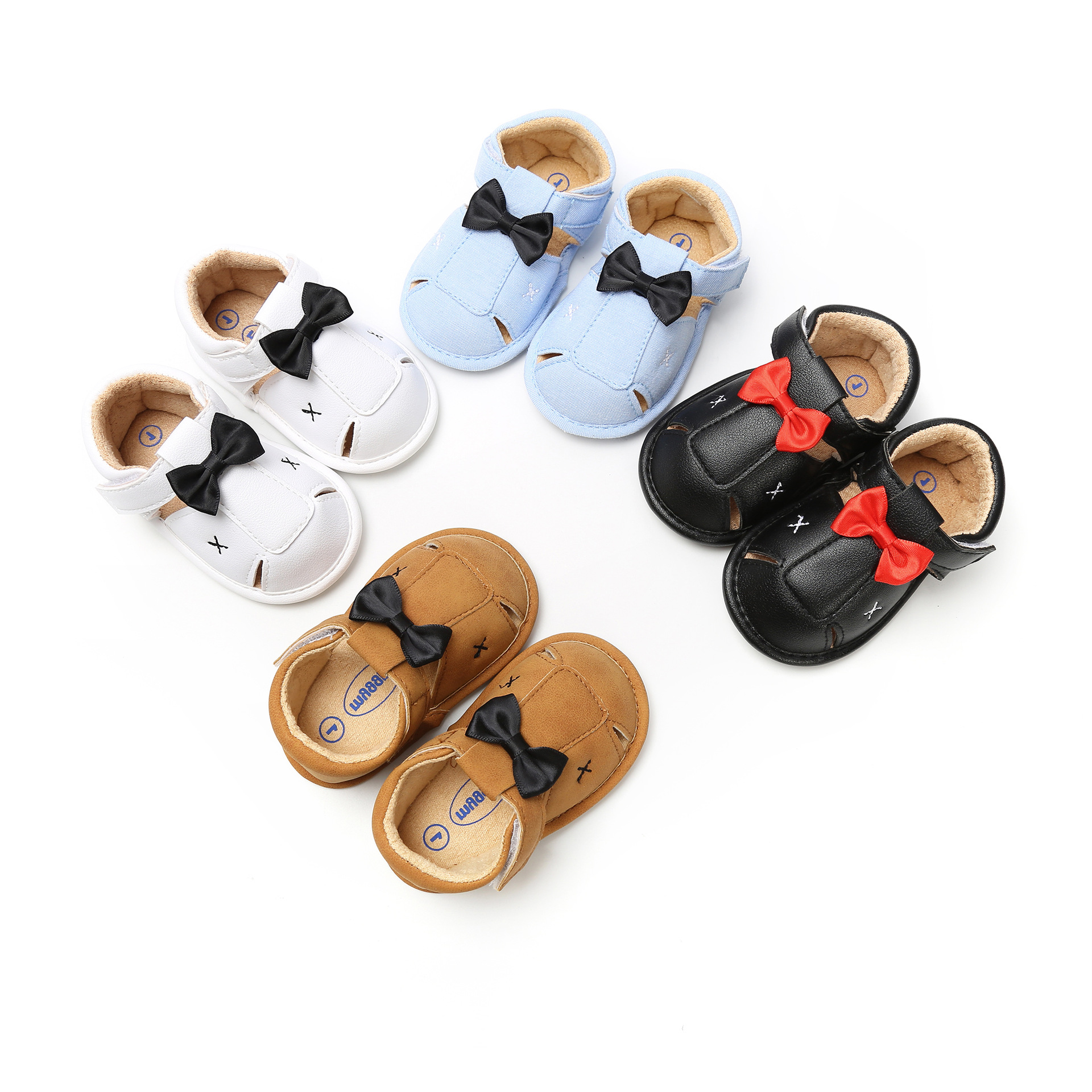 PU Leather Baby Sandals Summer Boy Shoes Infant Toddler Sandals For Girls Soft Sole Non-Slip Bowknot Newborn Sandal