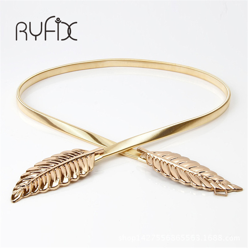 New Fashionable 2020 Women Metal Leaves Elastic Waist Dress Belt Strap Waistband Promotion Sale BL02-A 1