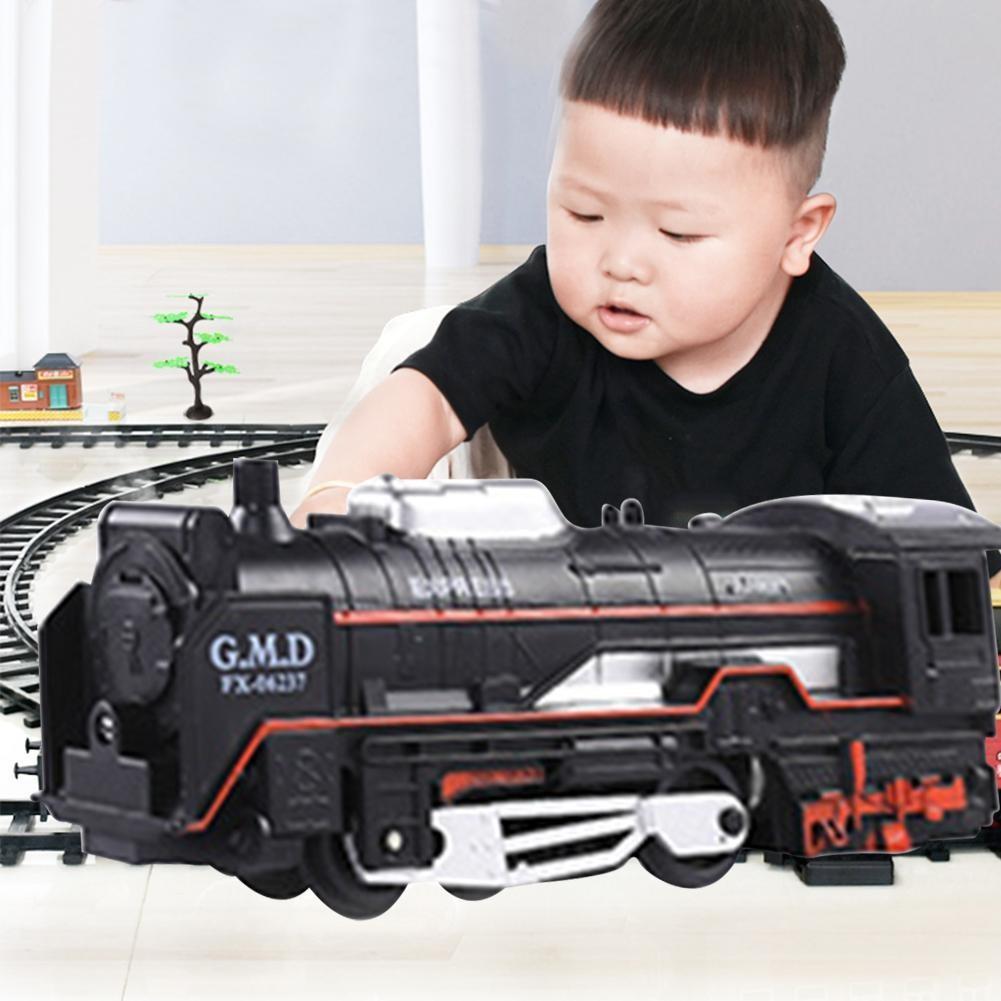 Boy's Toy Electric Train Set Railway RC Trains Model Kids Steam Train Toys For Children Trains Rail Remote Control Railway Set
