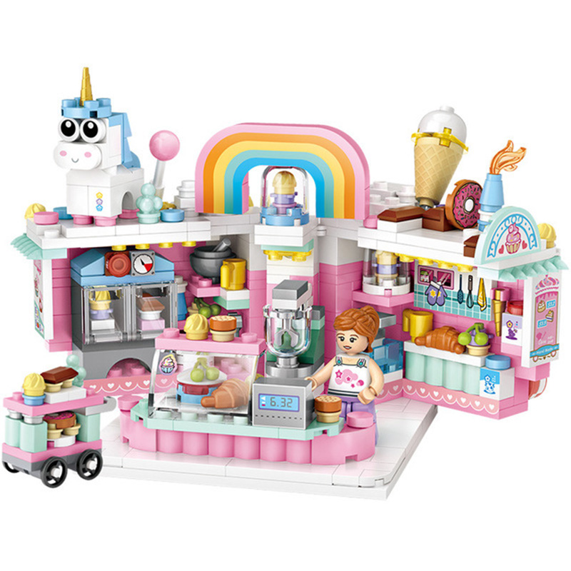 New 2020 Loz Mini Building Blocks Assembled Street View Toys China Street Cake Fries Shop Bricks Toys For Children Gifts