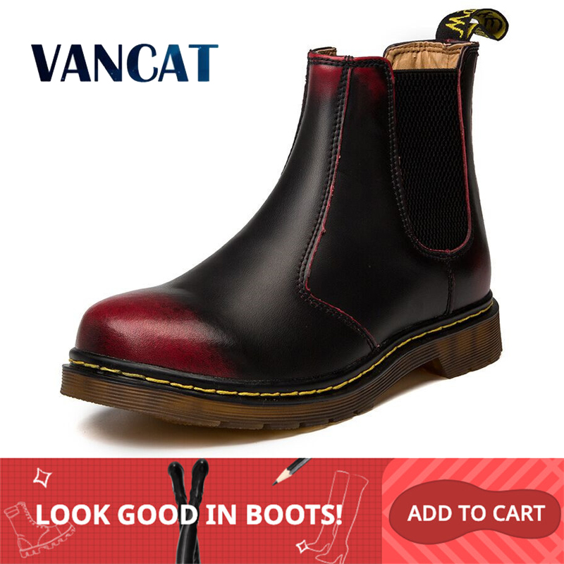 Vancat Autumn Winter Genuine Leather Chelsea Boots Men Shoes Vintage Classic Ankle Boots Waterproof Male Casual Motorcycle Boot