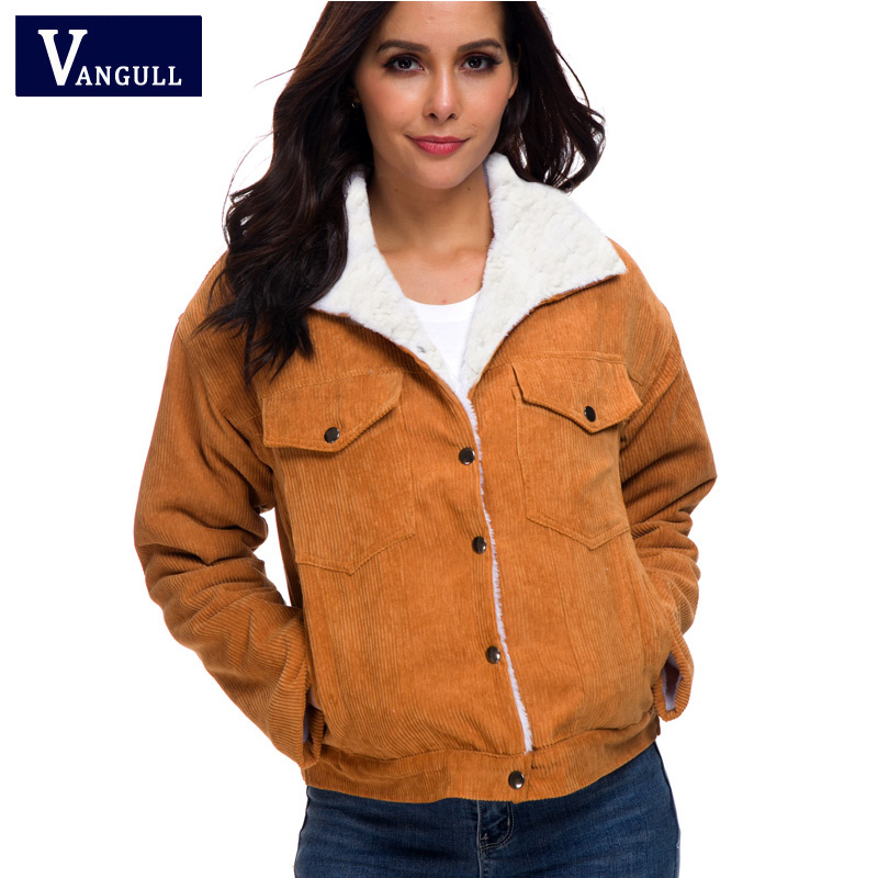Hb8a74f0fa15543f6b10ce0b4172b75b42 VANGULL Women Winter Jacket Thick Fur Lined Coats Parkas Fashion Faux Fur Lining Corduroy Bomber Jackets Cute Outwear 2019 New