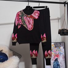Fashion Knitted Tracksuit Outfits Women Sequin Long sleeve Pullover Sweater Pants Two Piece Set Loose Black Knit Suit Female 2pc