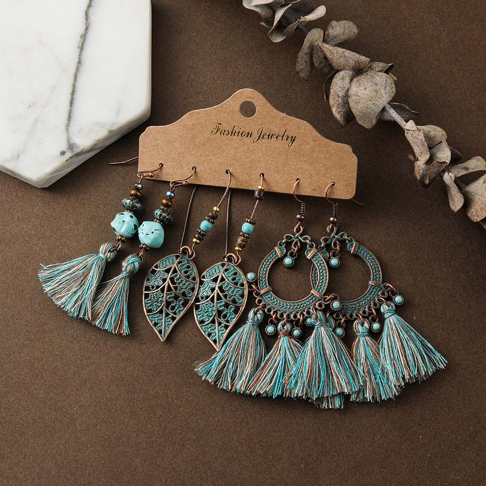 Vintage Mixed Tassel Earrings Set For Women Bohemian Brincos Crystal Round Geometric Water Drop Earring New Female Jewelry Gift