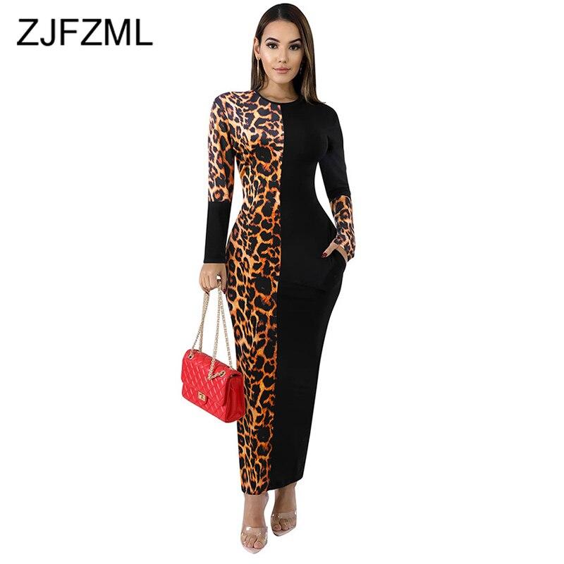 Leopard Pacthwork Side Pockets Plus Size Dress Women O Neck Long Sleeve Bodycon Dresses Causal Autumn Skinny Long Party Dress