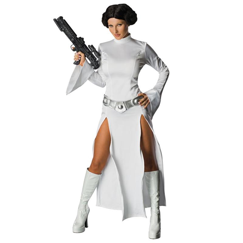 Star Wars Alderaan Princess Leia Organa White Dress Solo Dress Belt Costume Adult Woman Halloween Carnival Cosplay Dresses