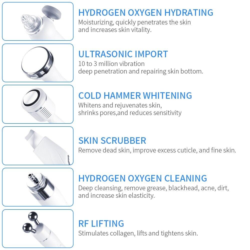 6 en 1 Portable Hydro Dermabrasion soins de la peau Machine de beauté eau oxygène Jet Hydro diamant Peeling Microdermabrasion - 4