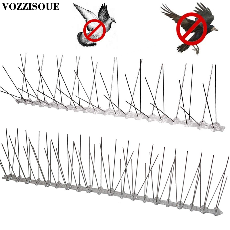 Hot Sale Plastic Repeller Bird and Pigeon Spikes Deterrent Anti Bird Stainless Steel Spike Strip Bird Scarer Repeller for Pigeon(China)