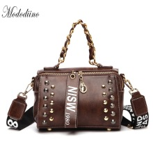 Mododiino Rivet Shoulder Bag Women Bag PU Leather Messenger Bag Chains Crossbody Bags For Women Handbag Handle Flap Bag DNV1209 rivet detail flap handbag