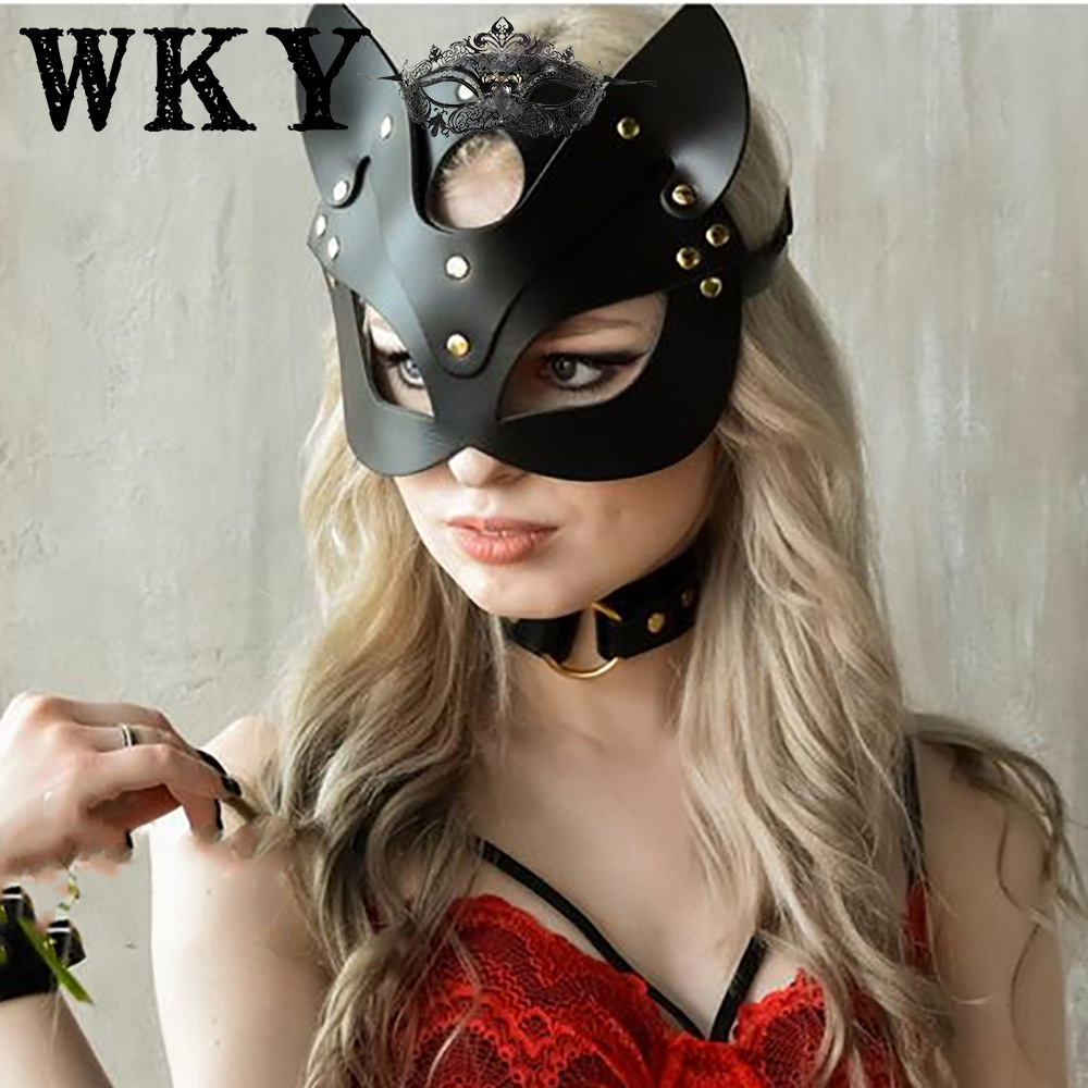 WKY Leather Harness Erotic Mask Handmade Sex Toys For Woman Gothic Leather Strap Adjustable Erotic Leather Mask Masquerade Belts