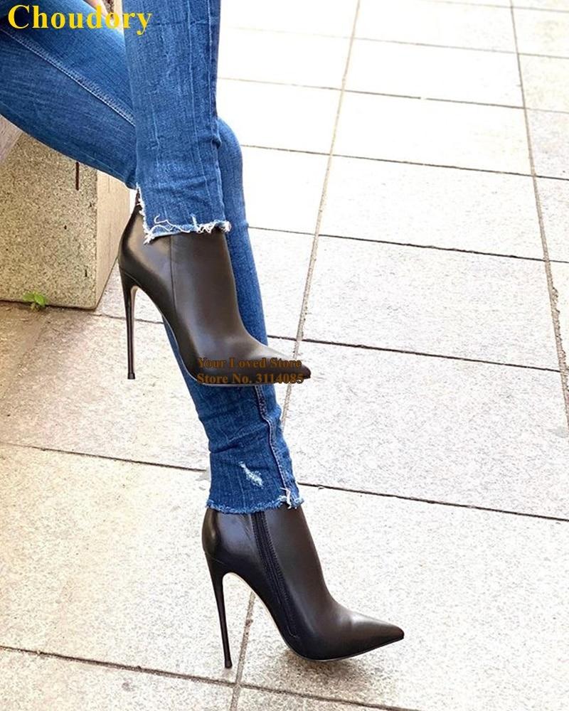 裸色黑色酒红色羊皮细高跟尖头短靴 (2)