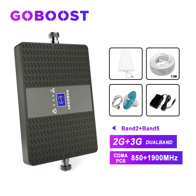 Signal Booster 850 1900 Cellular Signal Booster 2G 4G LTE 70dB CDMA 850mhz Mobile Phone Signals Booster Repeater Antenna *