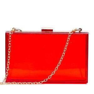Image 4 - 새로운 투명 아크릴 가방 지우기 클러치 저녁 가방 웨딩 파티 핸드백 체인 여성 숄더 가방 지갑 9 색