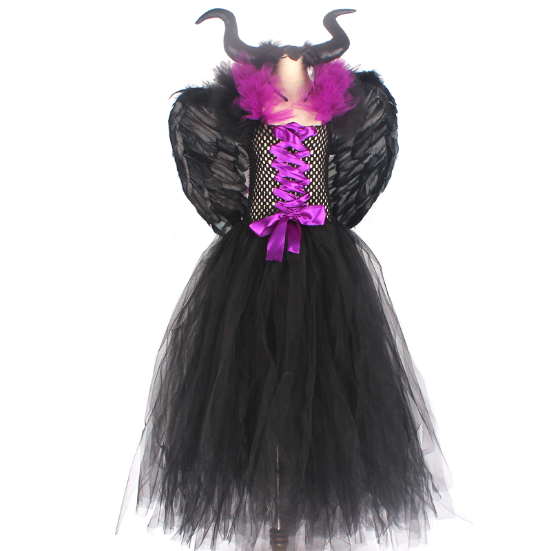 Hb8a7e97ad09543c19a9b8b5a4634808cq Maleficent Black Gown Tutu Dress with Deluxe Horns and Wings Girls Villain Fancy Dress Kids Halloween Cosplay Witch Costume
