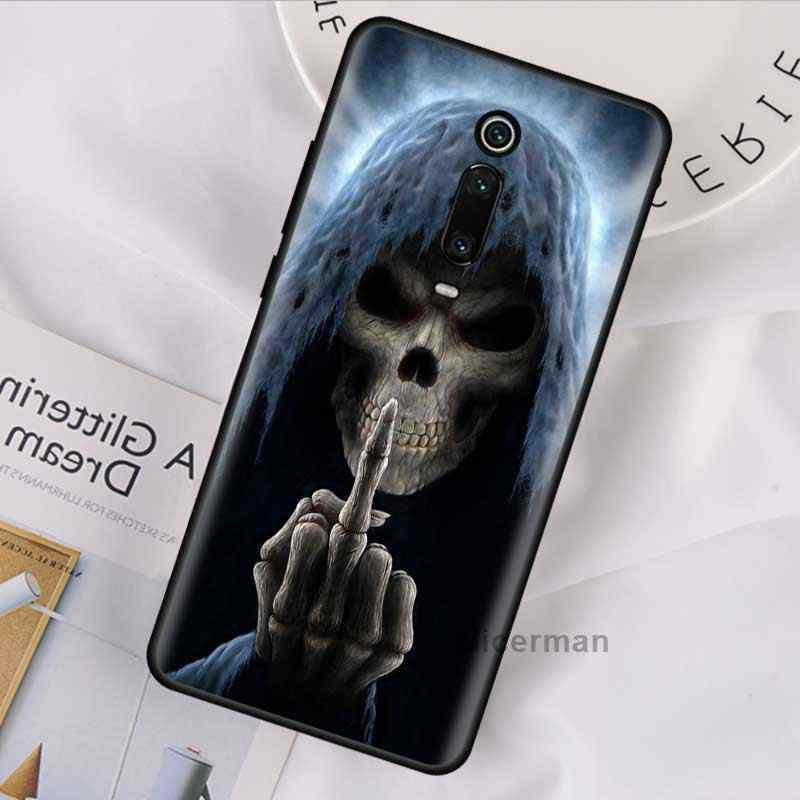 Grim Reaper Scheletro Del Cranio di Caso per Xiaomi Redmi Nota 9S 9 Max 8T 7 8 K30 Zoom K20 pro 6 8A Coperture Del Telefono Del Silicone Coque Autunno
