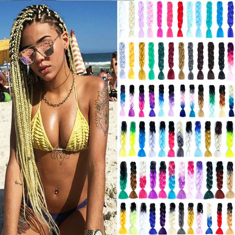 DIFEI 100g/Pack Jumbo Braiding Hair Ombre Three Tone Colored Synthetic  Crochet Braids Hairstyle Braiding Hair