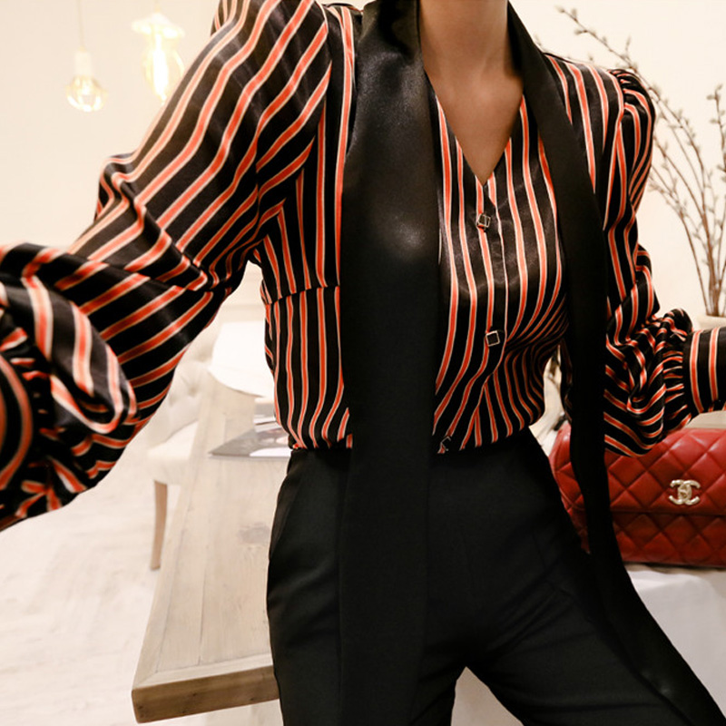 CINESSD Sexy Office Striped Top Shirts Blouses For Women Long sleeve Single Breasted Tassel Stand Neck Ladies Work Blouses