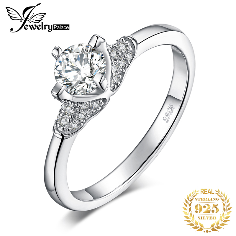 JewelryPalace Vintage Cubic Zirconia Solitaire Engagement Ring 925 Sterling Silver Best Gift For Girlfriend Trendy Jewelry Hot