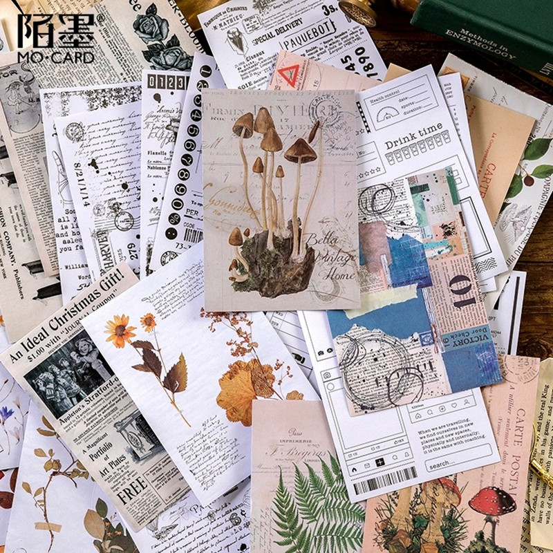Vintage Sticker Sulfuric Acid Paper Background Sticker Retro Translucent Sticker Diy Bullet Journal Calendar Plant Sticker