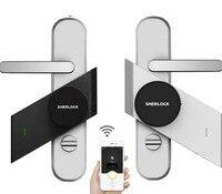 Güvenlik ve Koruma'ten Elektrikli Kilit'de Gümüş/siyah Sherlock S2 akıllı sopa kilit elektronik dış kapı kilidi Bluetooth kablosuz açık veya kapalı kapı çalışma akıllı App kontrolü