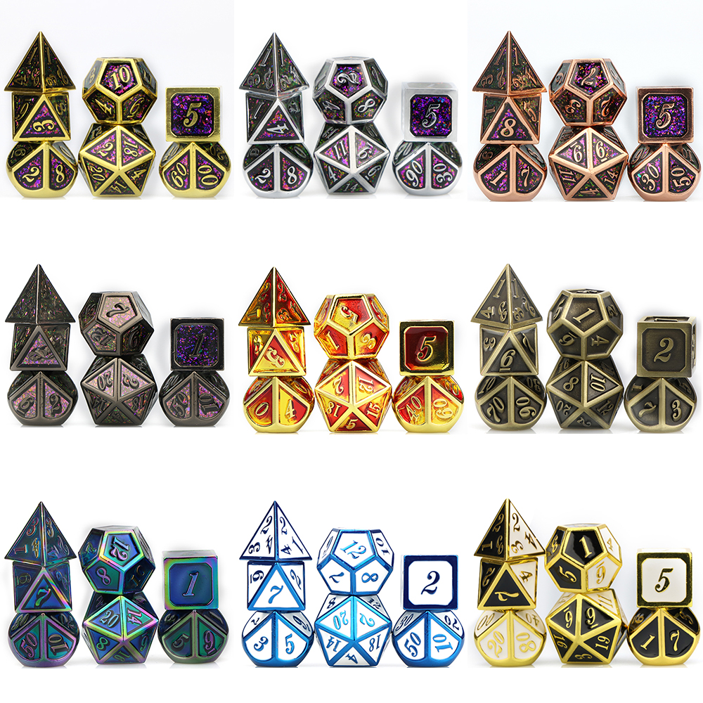 <font><b>Metal</b></font> DND Dice Set RPG MTG Dice for Tabletop RPG Games many color dice Roleplaying polyhedral dice with bag <font><b>D20</b></font> D12 D10 D8 D6 D4 image