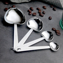 4PCS Heart-shaped Coffee Spoon stainless steel measuring spoon set Kitchen baking gadget Measuring cup spoon coffee accessories multifunction coffee spoon silver stainless steel with bag clip 1 cup puer tea cezve for coffee measuring spoon
