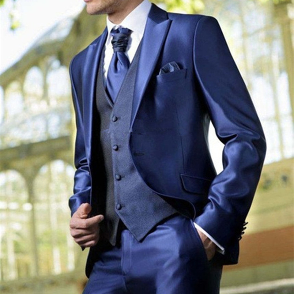 New Classic Men's Suit Smolking Noivo Terno Slim Fit Easculino Evening Suits For Men Bright Blue Tuxedos Party Tuxedos Wedding
