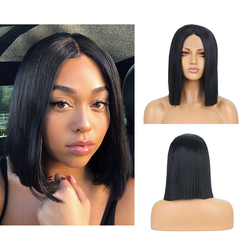 AIMEYA Short Bob Synthetic Lace Front Wig Middle Part Bob Straignt for Black Women Heat Resistant Fiber Hair natural Lace wig