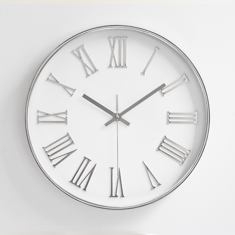 Wall-Clocks Wathces Bedroom Round Nordic-Style Modern Home Horloge Quartz Plasitc 12inch title=