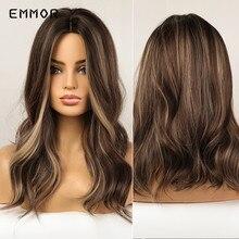 Emmor-Peluca de cabello largo ondulado para mujer afroamericana, cabellera Ondulado Natural RESISTENTE al calor, color marrón con Rubio, fiesta de Cosplay