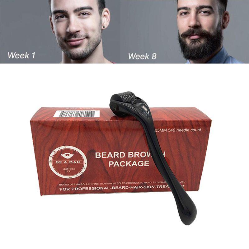 0.25mm 540 Needles Beard Growth Roller Facial Roller Skin Care Micro Needle For Mustache Beard Growth Beard Care Treatment Tool