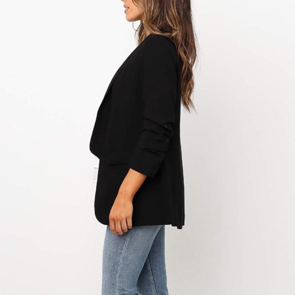 Oeak New Solid Vintage Suit Coats Women Casual Fashion Long Sleeve Turndown Ladies Blazer Tops Stitching Work Apparel Autumn