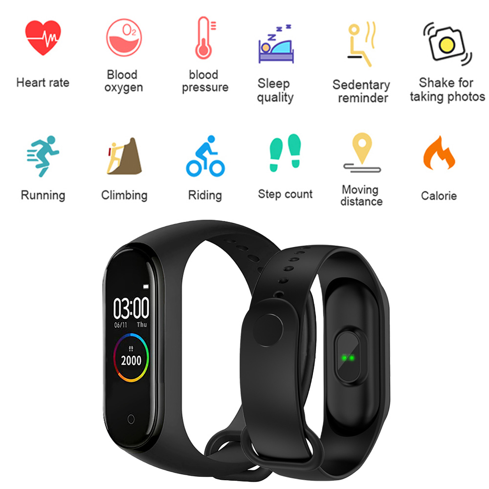 <font><b>M4</b></font> <font><b>Smart</b></font> <font><b>Band</b></font> Fitness Bracelet With Pressure Measurement Messages Reminder Color Screen Waterproof Sport Wristband <font><b>Smart</b></font> Watch image