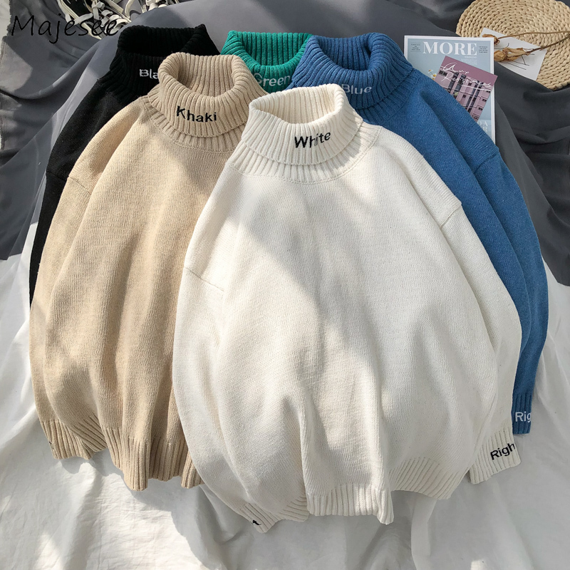 Warm Sweater Men Letter Turtleneck Winter Clothes Plus Size Simple All Match Mens Sweaters White Harajuku Tops Comfortable Chic