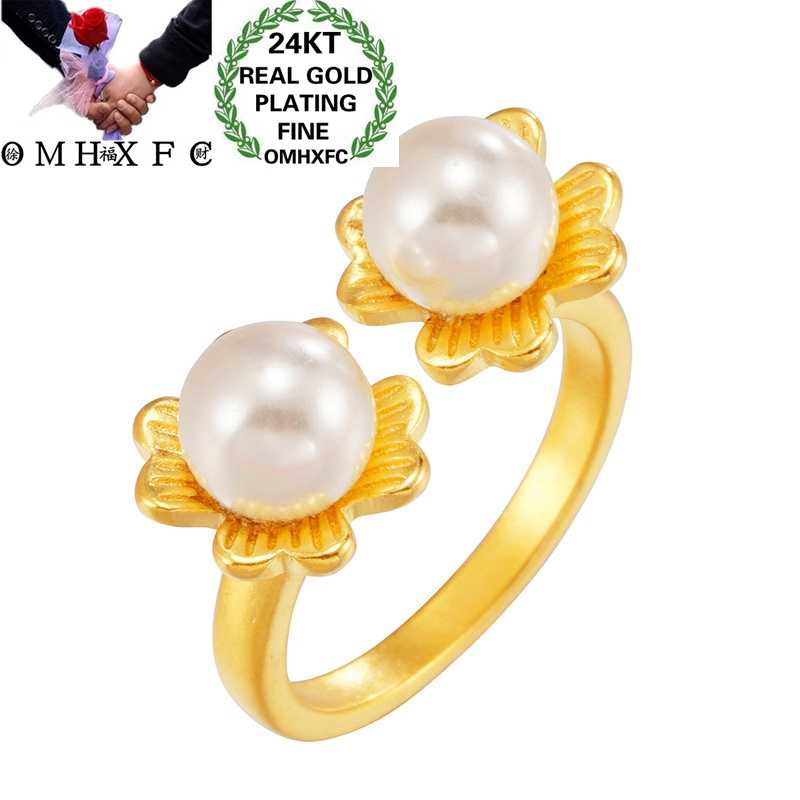 OMHXFC Wholesale RI257 European Fashion Hot Fine Woman Girl Party Birthday Wedding Gift Flower Pearl 24KT Gold Resizable Ring