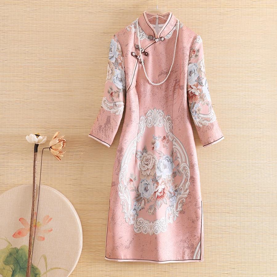 The New Autumn Women Royal Dress Cheongsam Ethnic Style Retro Elegant Jacquard Slim Elegant Lady Party Qipao Dress S-XXL