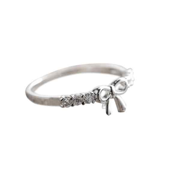 תכשיטים קוריאנים פשוט קריסטל קשת כסף זהב טבעת תכשיטי תכשיטי יוקרה לנשים טבעי צהוב מתכוונן גודל חתונה מתנה