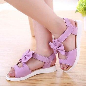 Summer Kids Children Sandals Fashion Bowknot Girls Flat Pricness Shoessingle Princess Roman Shoes For Children Girl #38