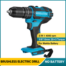 3-In-1 Brushed Battery Impact-Drill Cordless For Makita Hammer-Screwdriver 10mm 20