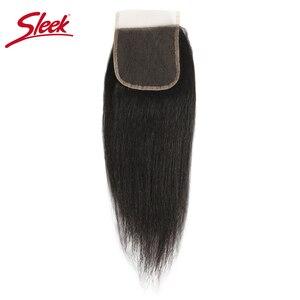 Image 2 - מלוטש ברזילאי יקי ישר תחרה סגירת 10 20 אינץ רמי שיער 4x4 בינוני חום עם מולבן קשרים תחרה סגירת משלוח חינם