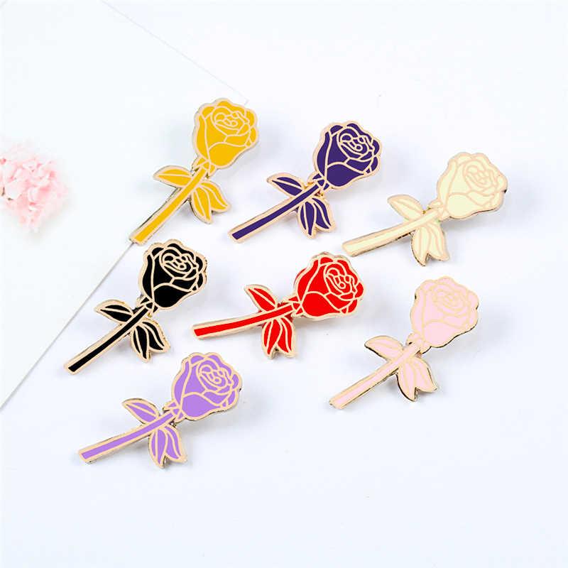 Broches de rosa de desenho, 7 cores, vermelho, preto, rosa, violeta, flores, esmalte, pinos para mulheres, vestido de lapela, emblema, acessórios românticos