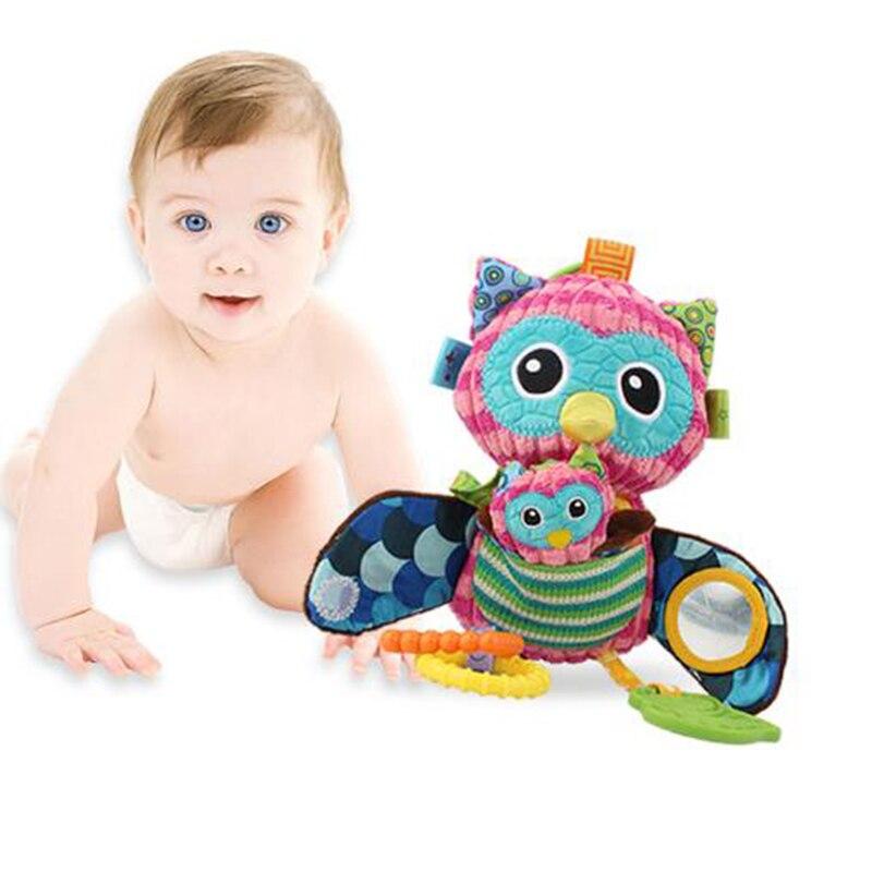 Multifunctional Soft Cotton Car Bed Rattles Hanging Owl Plush Toys For Stroller Baby Rattles Toy Infant Pram Stroller 0-12 Month