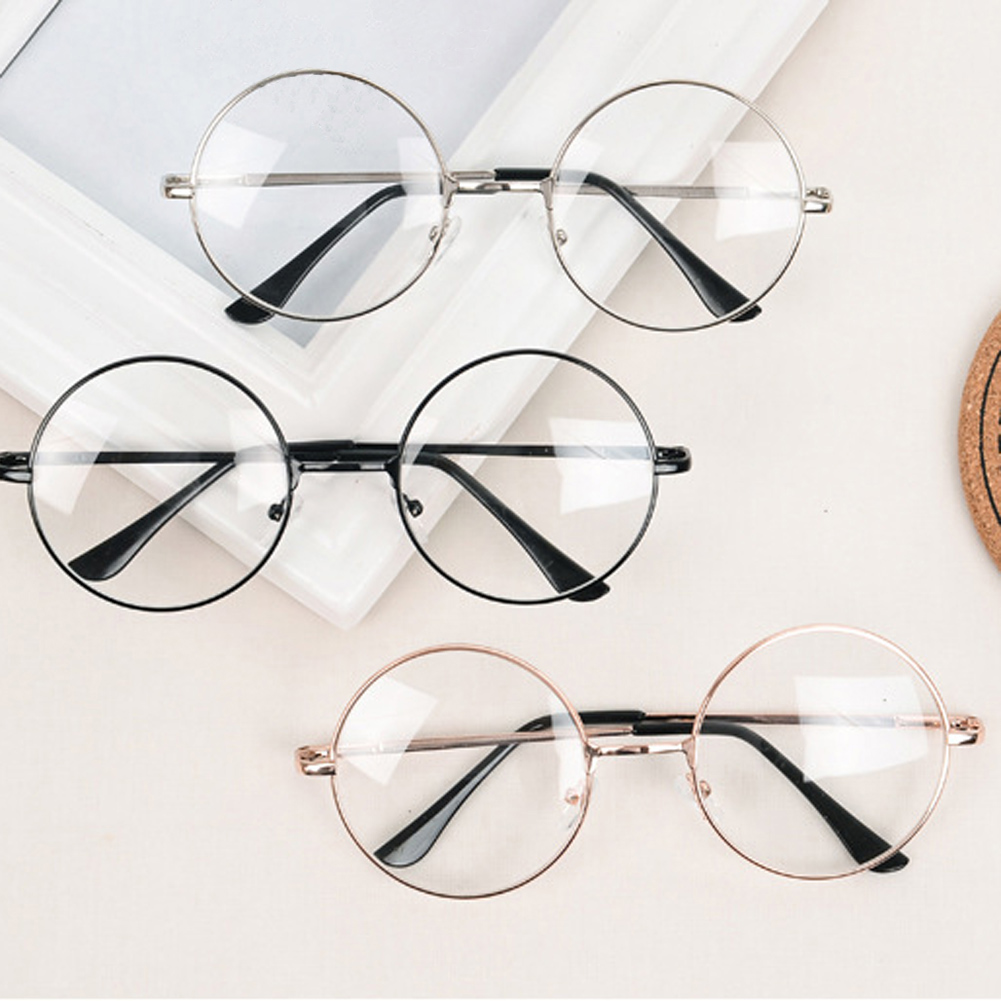Round Eyeglasses Glasses Frame Men/Women Clear Fake Glasses Eyeglass Round Eye Glasses Frames Unisex Metal Frame Vintage