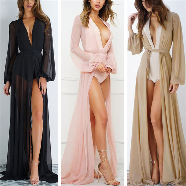 2020 Summer Brand Feminino Women Transparent Beach Maxi Dress Swimwear Bikini Cover-up Tunic Chiffon Female Bathing Suit 4