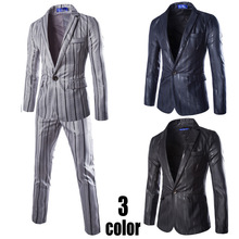 Europe and the United States a button suit suit men tide slim coat vertical stripes small suit two-piece men tuxedo suit europe and the united states high end red small suit women s long sleeve suit jacket office interview work and leisure two set