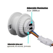 Interruptor de luz infravermelho do detector do modo do interruptor do sensor de movimento do diodo emissor de luz pir ajustável 110v-220v sensível do tempo do sensor de luz casa