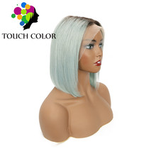 Ombre Colored Lace Front Wig 13x4 Indian Straight Short Bob Wigs For Black Women Remy Human Hair Lace Front Wig Pre Plucked Hair стоимость
