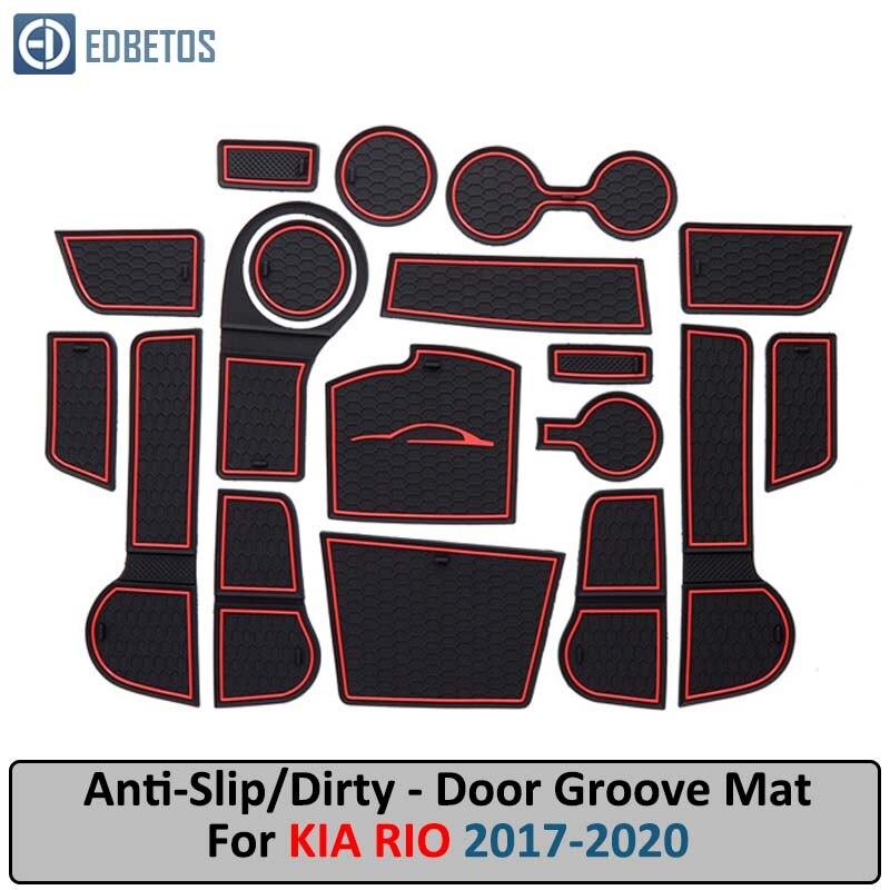 Door Groove Mat For Kia Rio 4 X-Line RIO 2017 2018 2019 Accessories Anti-Slip Mat Gate Slot Coaster Car Interiors Gel Pad Rubber